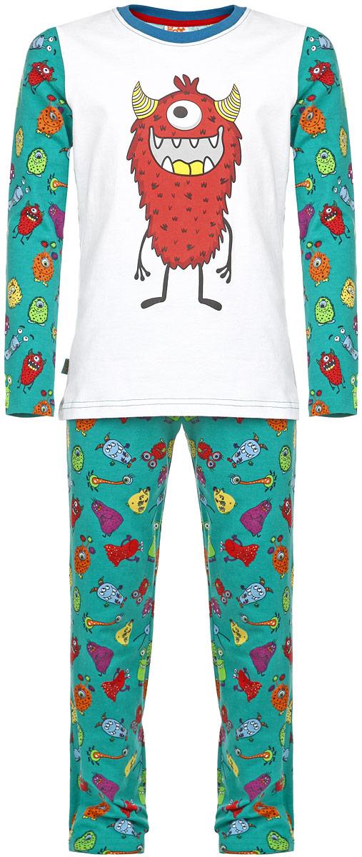 ПижамаAW15-UAT-BST-055Пижама для мальчика KitFox, состоящая из футболки с длинным рукавом и брюк, идеально подойдет вашему ребенку. Пижама выполнена из хлопка c добавлением эластана, она очень мягкая и приятная на ощупь, не сковывает движения и позволяет коже дышать, не раздражает даже самую нежную и чувствительную кожу ребенка, обеспечивая ему наибольший комфорт. Футболка с длинными рукавами и круглым вырезом горловины оформлена термоаппликацией с изображением забавного монстра. Брюки прямого кроя на талии имеют широкую эластичную резинку, которая не позволяет брюкам сползать, не сдавливая животик ребенка. Модель оформлена ярким принтом с изображением веселых монстров. В такой пижаме ваш ребенок будет чувствовать себя комфортно и уютно во время сна.
