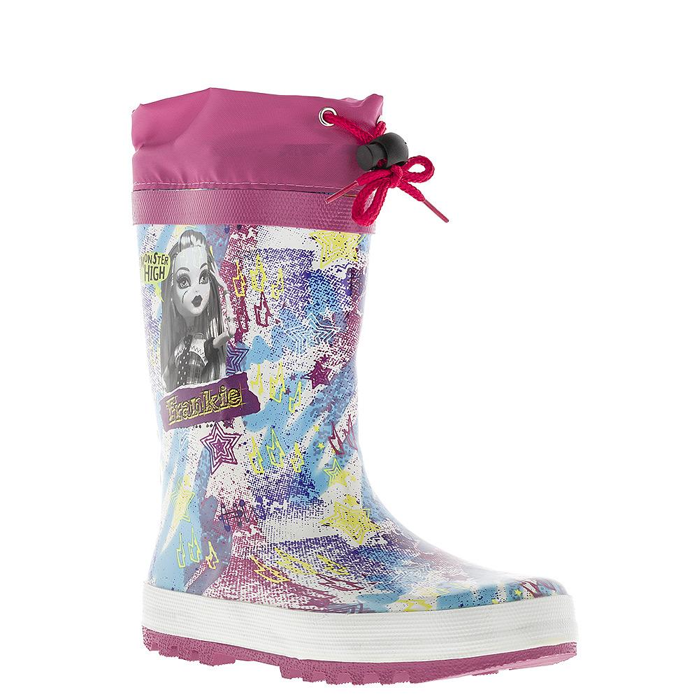 6070B_утепл.Утепленные резиновые сапоги Monster High от Kakadu превосходно защитят ноги вашей девочки от промокания в дождливый день. Сапоги, выполненные из резины, оформлены красочным принтом и изображением Фрэнки Штейн - героини мультсериала Monster High. Мягкая текстильная внутренняя поверхность и съемная стелька из ЭВА материала с верхней поверхностью из текстиля не дадут ногам замерзнуть. Текстильный верх голенища регулируется в объеме за счет шнурка со стоппером. Рельефная поверхность подошвы гарантирует отличное сцепление с любой поверхностью. Яркая и комфортная обувь с изображениями любимых персонажей порадует юных поклонниц мультсериала Monster High.