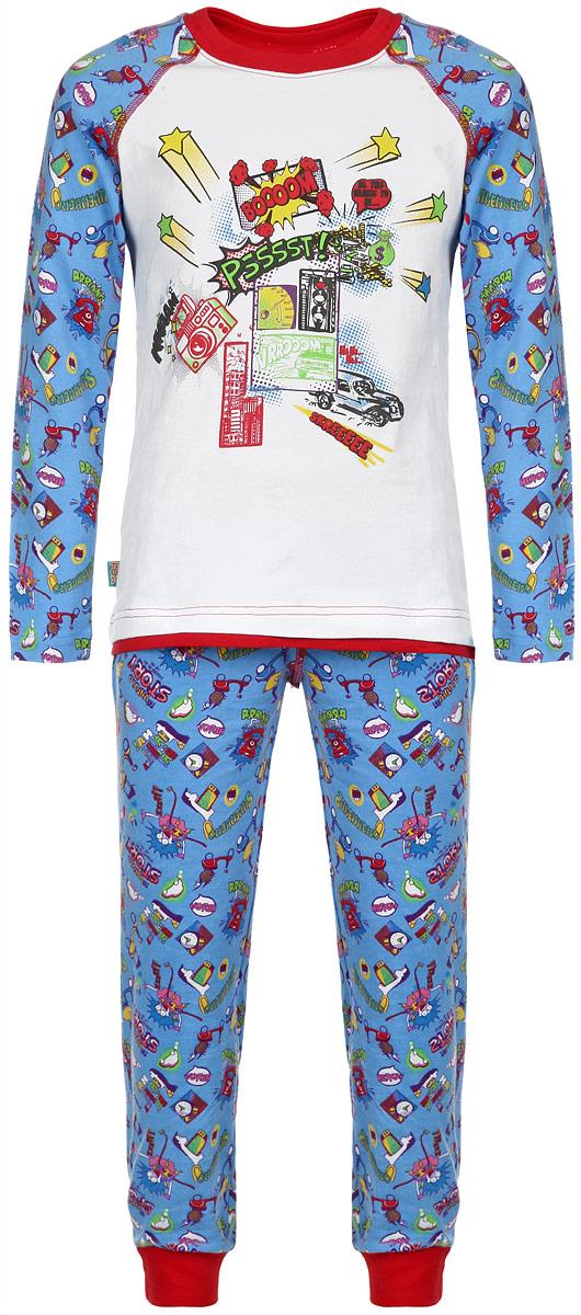 ПижамаAW15-UAT-BST-122Пижама для мальчика KitFox, состоящая из футболки с длинным рукавом и брюк, идеально подойдет вашему ребенку. Пижама выполнена из хлопка c добавлением эластана, она очень мягкая и приятная на ощупь, не сковывает движения и позволяет коже дышать, не раздражает даже самую нежную и чувствительную кожу ребенка, обеспечивая ему наибольший комфорт. Футболка с длинными рукавами и круглым вырезом горловины оформлена оригинальным принтом. Вырез горловины дополнен трикотажной резинкой. Брюки прямого кроя на талии имеют широкую эластичную резинку, которая не позволяет брюкам сползать, не сдавливая животик ребенка. Низ брючин дополнен широкими эластичными манжетами. Модель оформлена ярким принтом. В такой пижаме ваш ребенок будет чувствовать себя комфортно и уютно во время сна.