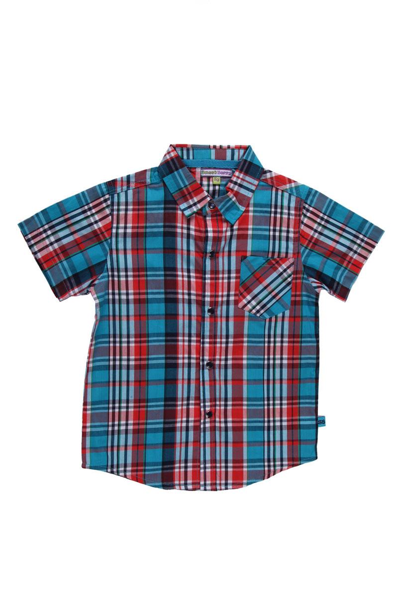 Рубашка для мальчика. 196369196369Модная рубашка для мальчика Sweet Berry, выполненная из натурального хлопка, станет идеальным вариантом для создания образа в стиле Casual. Материал мягкий и приятный на ощупь, не сковывает движения и позволяет коже дышать, обеспечивая комфорт. Рубашка с отложным воротником и короткими рукавами застегивается на кнопки по всей длине. На груди модели предусмотрен накладной карман. Изделие оформлено принтом в клетку. Современный дизайн и актуальная цветовая гамма делают эту рубашку стильным предметом детской одежды. В ней ваш маленький мужчина всегда будет в центре внимания!