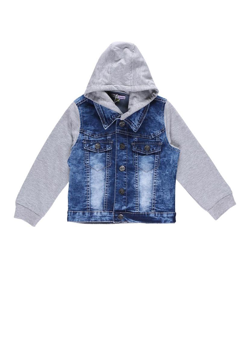 Куртка джинсовая для мальчика. 196339196339Джинсовая куртка для мальчика Sweet Berry идеально подойдет вашему ребенку и согреет его в прохладную погоду. Изготовленная из натурального хлопка, она мягкая, очень приятная на ощупь, не сковывает движения и позволяет коже дышать, обеспечивая наибольший комфорт. Модель с отложным воротником и длинными рукавами застегивается на металлические кнопки. Рукава и съемный капюшон выполнены из текстиля. Манжеты рукавов стянуты широкой резинкой. На груди изделие оформлено имитацией накладных карманов. Современный дизайн и модная расцветка делают эту куртку стильным предметом детского гардероба. В ней юный модник всегда будет в центре внимания!