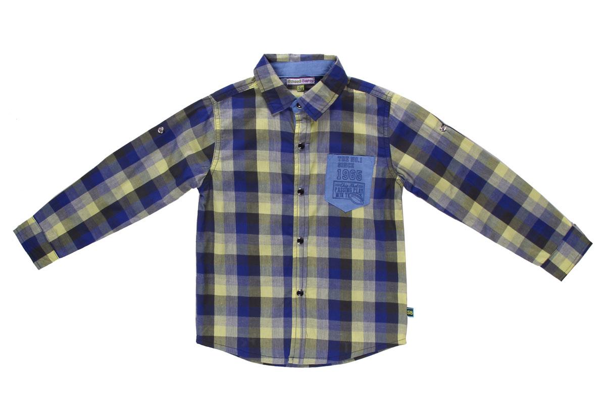 Рубашка для мальчика. 196334196334Модная рубашка для мальчика Sweet Berry, выполненная из натурального хлопка, станет идеальным вариантом для создания образа в стиле Casual. Материал мягкий и приятный на ощупь, не сковывает движения и позволяет коже дышать, обеспечивая комфорт. Рубашка с отложным воротником и длинными рукавами застегивается на кнопки по всей длине. На груди модели предусмотрен накладной карман. Длину рукавов можно изменить при помощи хлястиков на кнопках. Манжеты также имеют застежки-кнопки. Изделие оформлено принтом в клетку, украшено принтовыми надписями. Современный дизайн, актуальная цветовая гамма и декор делают эту рубашку стильным предметом детской одежды. В ней ваш маленький мужчина всегда будет в центре внимания!