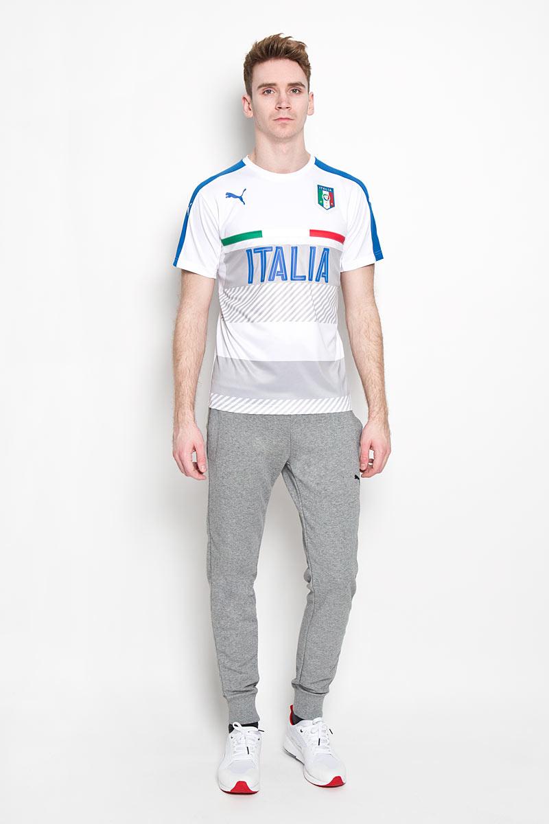 Футболка мужская FIGC Italia Training Jersey. 748851748851021Стильная мужская футболка Puma FIGC Italia Training Jersey, выполненная из высококачественного 100% полиэстера, обладает высокой воздухопроницаемостью и гигроскопичностью, позволяет коже дышать, великолепно отводит влагу и позволяет коже оставаться сухой даже во время интенсивных занятий спортом. . Модель с короткими рукавами и круглым вырезом горловины - идеальный вариант для создания современного образа в спортивном стиле. Футболка оформлена крупным принтом с изображением герба футбольной сборной Италии. Такая модель подарит вам комфорт в течение всего дня и послужит замечательным дополнением к вашему гардеробу.