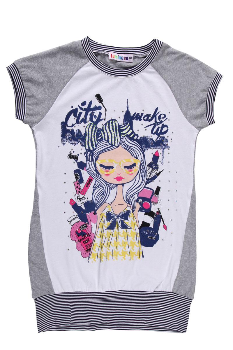 Футболка для девочки. 195846195846Удлиненная футболка для девочки Sweet Berry идеально подойдет вашей моднице. Изготовленная из эластичного хлопка, она очень мягкая и приятная на ощупь, не сковывает движения и позволяет коже дышать, обеспечивая наибольший комфорт. Футболка с короткими рукавами-реглан и круглым вырезом горловины оформлена изображением девушки в окружении косметики и декорирована стразами. Горловину, низ рукавов и нижнюю часть изделия украшает трикотажные эластичные вставки в полоску. Современный дизайн и расцветка делают эту модель стильным предметом детского гардероба. В такой футболке ваша девочка всегда будет в центре внимания!