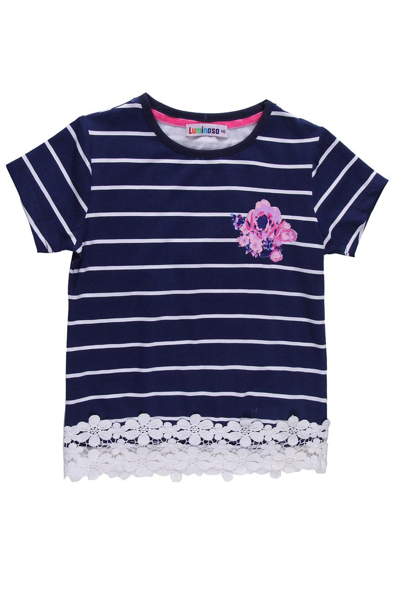 Футболка для девочки. 195805195805Красивая футболка для девочки Luminoso станет отличным дополнением к детскому гардеробу. Модель выполнена из мягкого эластичного хлопка, приятная на ощупь, не сковывает движения и хорошо пропускает воздух, обеспечивая наибольший комфорт. Футболка с круглым вырезом горловины и короткими рукавами оформлена принтом в полоску. По низу изделие дополнено кружевной вставкой. На груди футболка украшена термоаппликацией в виде цветка с блестящим напылением. Дизайн и расцветка делают эту футболку стильным предметом детской одежды, она поможет создать отличный современный образ.