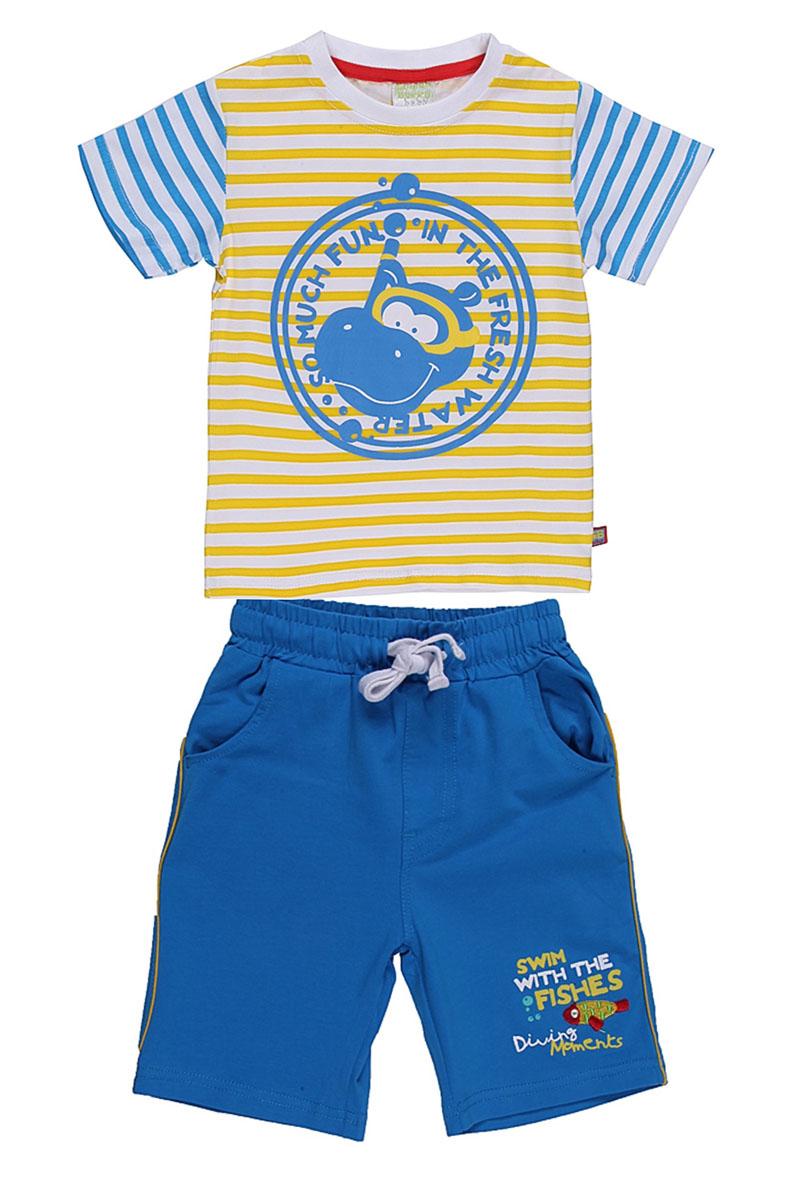Комплект для мальчика: футболка, шорты. 196132196132Комплект для мальчика Sweet Berry Baby, состоящий из футболки и шорт, идеально подойдет вашему ребенку для летнего отдыха и прогулок. Изготовленный из эластичного хлопка, он мягкий и приятный на ощупь, не сковывает движения и позволяет коже дышать, не раздражает даже самую нежную и чувствительную кожу ребенка, обеспечивая ему наибольший комфорт. Футболка с круглым вырезом горловины с короткими рукавами. Горловина дополнена трикотажной эластичной резинкой контрастного цвета. Оформлена принтом в полоску. Шорты на талии имеют широкую эластичную резинку, регулируемую контрастным шнурком. Имеется имитация ширинки. Спереди два врезных кармашка. Оформлены вышивкой с изображением рыбки и принтовой надписью. Оригинальный дизайн и модная расцветка делают этот комплект незаменимым предметом детского гардероба. В нем вашему маленькому мужчине будет комфортно и уютно, и он всегда будет в центре внимания!