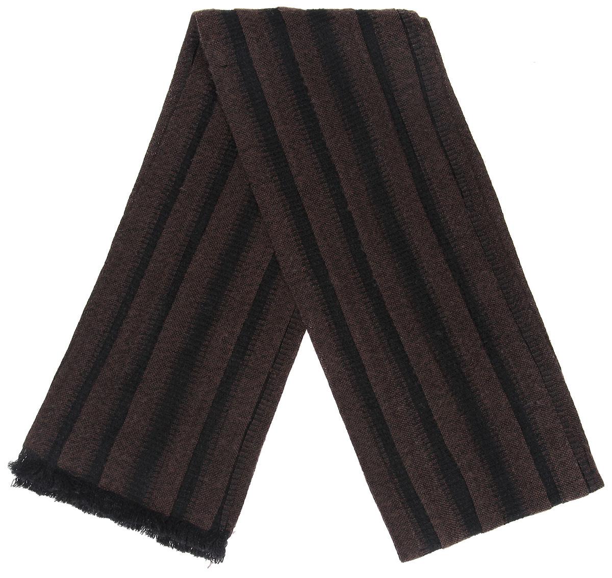 Шарф мужской. 000505600050Элегантный мужской шарф Flioraj согреет вас в холодное время года, а также станет изысканным аксессуаром, который призван подчеркнуть ваш стиль и индивидуальность. Теплый, мягкий, приятный на ощупь шарф не продувается и великолепно сохраняет тепло. Оригинальный и стильный шарф выполнен из высококачественной мериносовой шерсти с добавлением лайкры, оформлен узкими полосками и украшен тонкой бахромой по краям. Такой шарф станет превосходным дополнением к любому наряду, защитит вас от ветра и холода и позволит вам создать свой неповторимый стиль