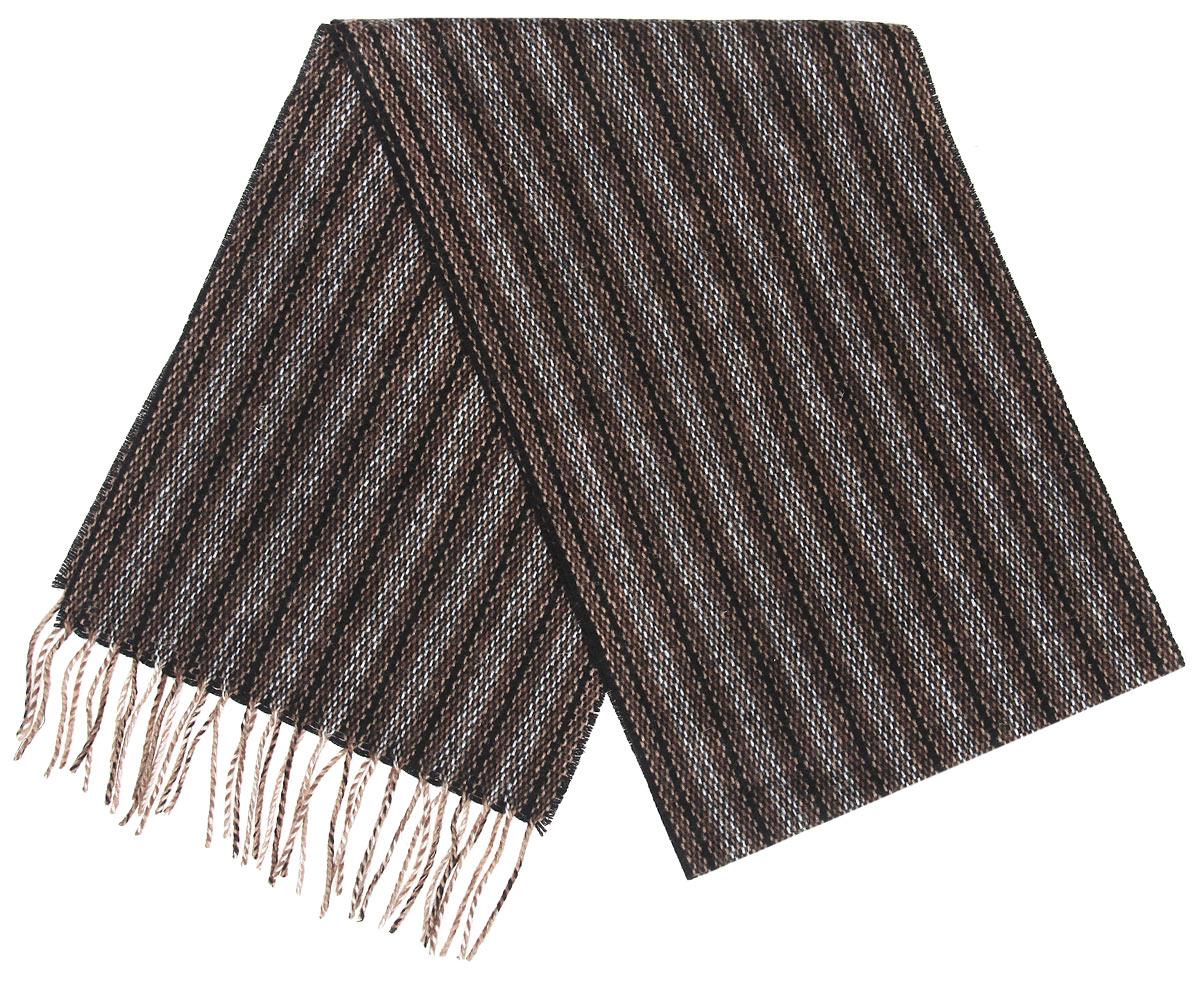 Шарф мужской. 26L-1 М226L-1 М2Элегантный мужской шарф Flioraj согреет вас в холодное время года, а также станет изысканным аксессуаром, который призван подчеркнуть ваш стиль и индивидуальность. Оригинальный и стильный шарф выполнен из высококачественной 100% мериносной шерсти, оформлен узкими полосками с плавными цветовыми переходами и украшен бахромой в виде жгутиков по краям. Такой шарф станет превосходным дополнением к любому наряду, защитит вас от ветра и холода и позволит вам создать свой неповторимый стиль