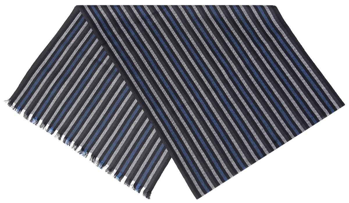 Шарф мужской. 0005056000050560Элегантный мужской шарф Flioraj согреет вас в холодное время года, а также станет изысканным аксессуаром, который призван подчеркнуть ваш стиль и индивидуальность. Оригинальный шарф выполнен из высококачественной 100% мерсеризованной мериносовой шерсти, оформлен принтом в виде узких контрастных полосок и украшен тонкой бахромой по краям. Такой шарф станет превосходным дополнением к любому наряду, защитит вас от ветра и холода и позволит вам создать свой неповторимый стиль
