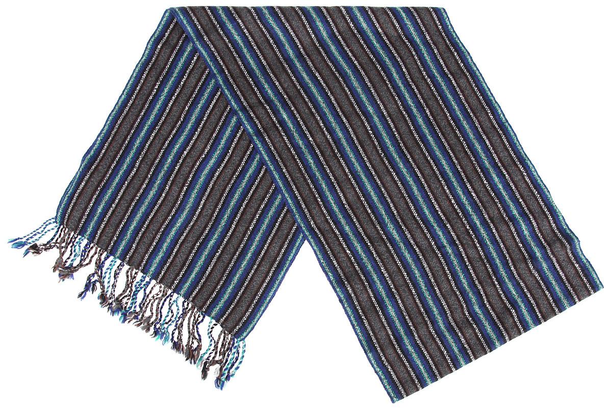 Шарф00050544Элегантный мужской шарф Flioraj согреет вас в холодное время года, а также станет изысканным аксессуаром, который призван подчеркнуть ваш стиль и индивидуальность. Оригинальный и стильный шарф выполнен из высококачественной 100% мерсеризованной шерсти, оформлен узкими контрастными полосками и украшен жгутиками бахромой по краям. Такой шарф станет превосходным дополнением к любому наряду, защитит вас от ветра и холода и позволит вам создать свой неповторимый стиль