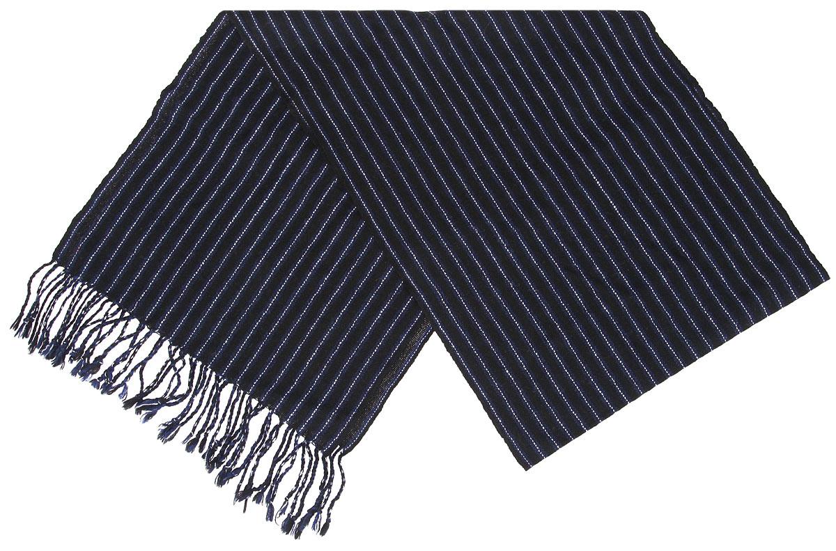 Шарф мужской. 000505400050541Элегантный мужской шарф Flioraj согреет вас в холодное время года, а также станет изысканным аксессуаром, который призван подчеркнуть ваш стиль и индивидуальность. Оригинальный и стильный шарф выполнен из высококачественной 100% мериносовой шерсти, оформлен узкими контрастными полосками и украшен жгутиками бахромой по краям. Такой шарф станет превосходным дополнением к любому наряду, защитит вас от ветра и холода и позволит вам создать свой неповторимый стиль
