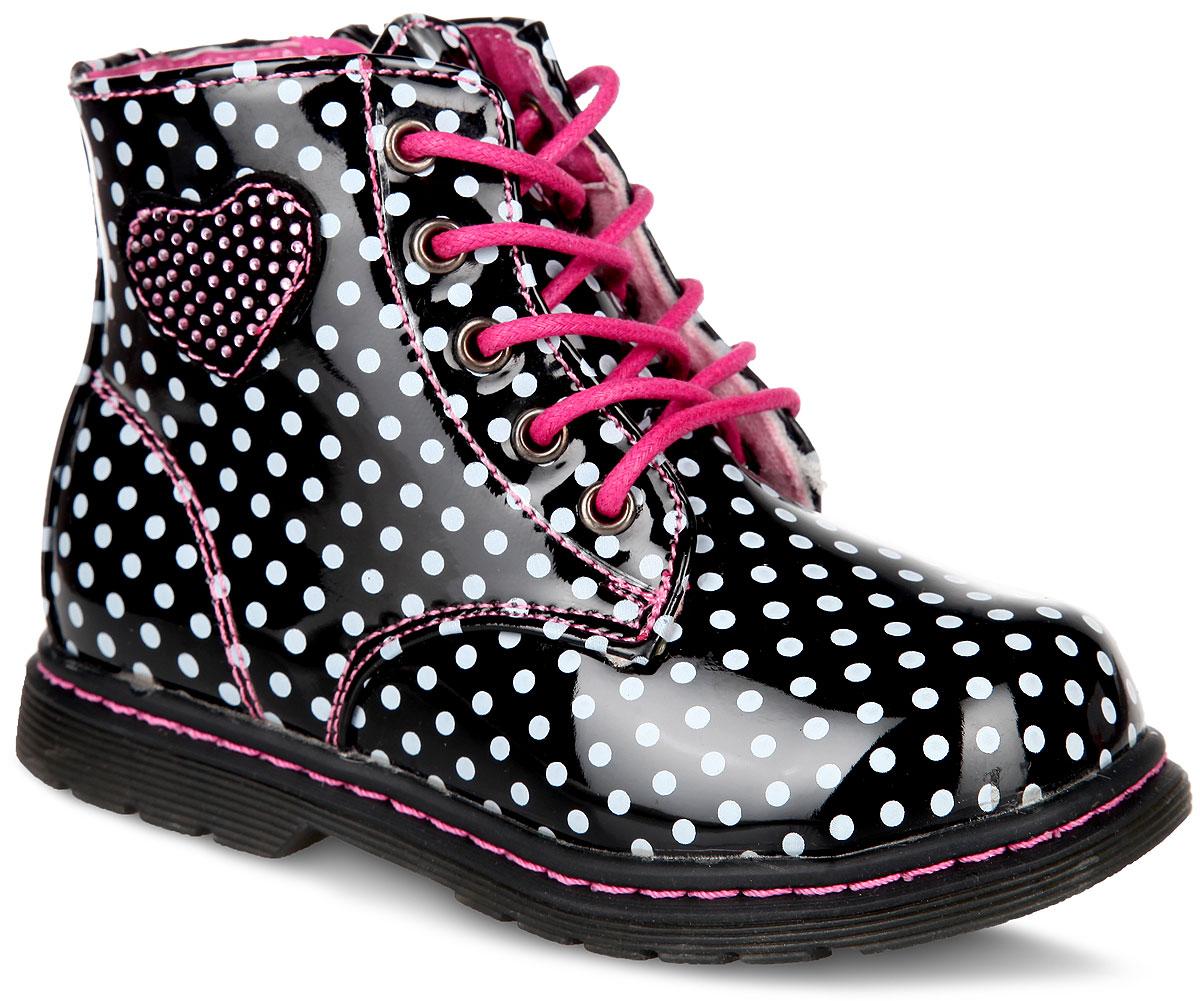 Ботинки для девочки. 51-092C/1251-092C/12Очаровательные детские ботинки от Indigo Kids заинтересуют вашу дочурку с первого взгляда. Модель выполнена из искусственной лакированной кожи и оформлена по верху принтом горох. Мягкая верхняя часть и подкладка, изготовленная из утепленного текстиля, предотвращают натирание и гарантируют полный комфорт. Подъем дополнен классической шнуровкой, которая обеспечивает плотное прилегание модели к стопе и регулирует объем. Стелька из текстиля. Задник дополнен наружным ремешком. Сбоку изделие декорировано нашивкой в виде сердца, усеянного стразами. Ботинки застегиваются на застежку-молнию, расположенную на одной из боковых сторон. Благодаря такой застежке ребенок может самостоятельно надевать обувь. Подошва и каблук оснащены рифлением для лучшей сцепки с поверхностью. Чудесные ботинки займут достойное место в гардеробе вашего ребенка.