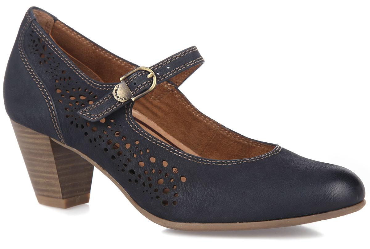 Туфли женские. 1-1-24411-26-8051-1-24411-26-805Стильные женские туфли от Tamaris очаруют вас с первого взгляда. Модель выполнена из натуральной кожи и оформлена с одной из боковых сторон декоративной перфорацией. Застегивается модель на ремешок с металлической пряжкой. Подкладка из натуральной кожи и текстиля комфортна при движении. Съемная стелька EVA с поверхностью из натуральной кожи принимает форму стопы. Каблук умеренной высоты, стилизованный под дерево, оснащен амортизатором. Подошва обеспечивает отличное сцепление на любой поверхности. Роскошные туфли помогут вам создать элегантный образ.