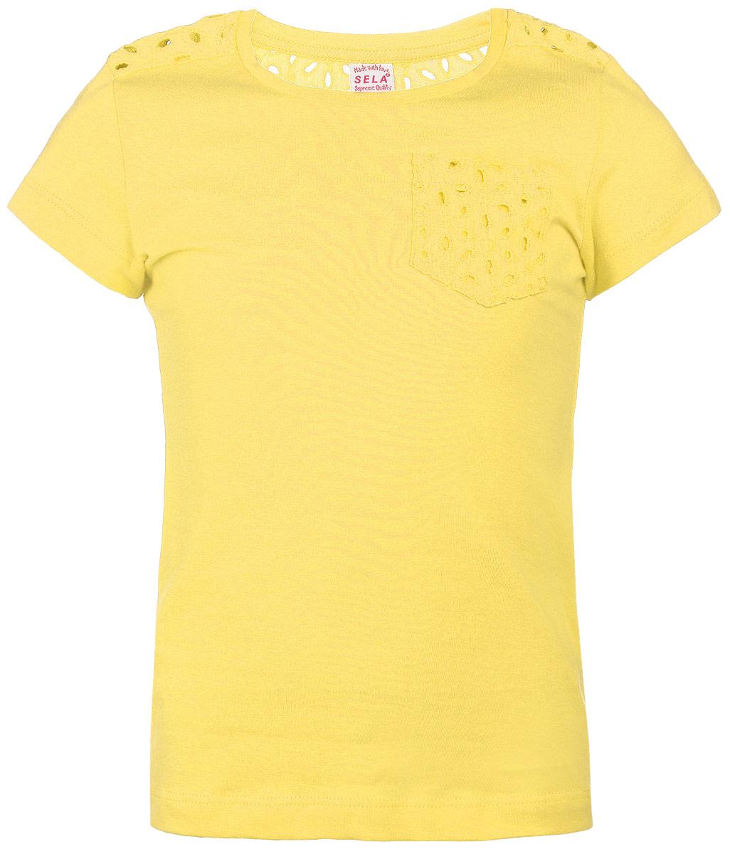 Футболка для девочки. Ts-611/114-6182Ts-611/114-6182Стильная футболка для девочки Sela идеально подойдет вашей дочурке. Изготовленная из натурального хлопка, она необычайно мягкая и приятная на ощупь, не сковывает движения и позволяет коже дышать, не раздражает даже самую нежную и чувствительную кожу ребенка, обеспечивая ему наибольший комфорт. Футболка прямого кроя с короткими рукавами и круглым вырезом. Вставка на спинке и кармашек выполнены из хлопковой ажурной ткани. Современный дизайн и расцветка делают эту футболку модным и стильным предметом детского гардероба. В ней ваша маленькая модница будет чувствовать себя уютно и комфортно, и всегда будет в центре внимания!