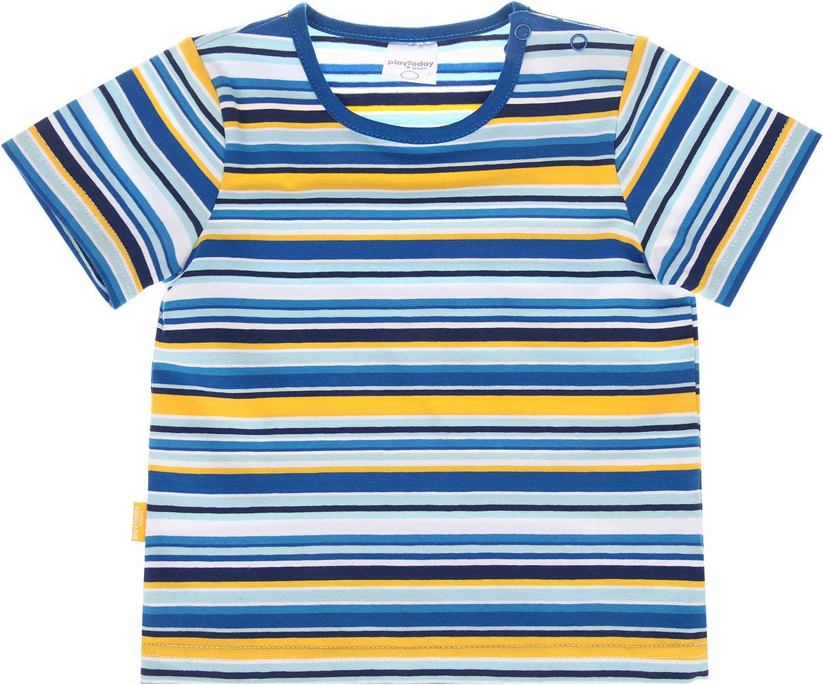 Футболка для мальчика Baby. 167018167018Футболка для мальчика PlayToday Baby станет отличным дополнением к детскому гардеробу. Модель выполнена из эластичного хлопка, очень мягкая и приятная на ощупь, не сковывает движения и позволяет коже дышать, обеспечивая наибольший комфорт. Футболка с круглым вырезом горловины и короткими рукавами застегивается на кнопки по плечевому шву, что помогает с легкостью переодеть ребенка. Воротник дополнен мягкой бейкой. Оформлено изделие принтом в полоску. Дизайн и расцветка делают эту футболку модным предметом детской одежды. В ней ваш ребенок всегда будет в центре внимания!