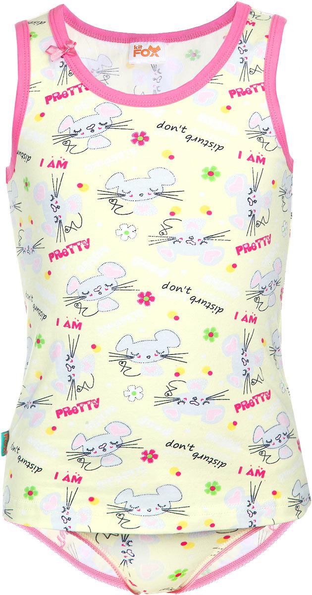 Комплект для девочки Mouse: майка, трусы. AW15-UAT-GTT-162AW15-UAT-GTT-162Комплект для девочки KitFox из коллекции Mouse, состоящий из майки и трусов, прекрасно подойдет вашей маленькой принцессе. Изготовленный из эластичного хлопка, он мягкий и приятный на ощупь, не сковывает движения и позволяет коже дышать, не раздражает нежную кожу ребенка, обеспечивая ему наибольший комфорт. Майка с круглым вырезом горловины и широкими бретелями оформлена принтом с изображением мышек и надписей. Вырез горловины и проймы рукавов дополнены трикотажной резинкой контрастного цвета. Декорирована модель атласным бантиком. Трусики-слипы на талии имеют мягкую эластичную резинку, благодаря чему они не сдавливают животик ребенка и не сползают. Вырезы для ножек также дополнены эластичными резинками. Трусики украшены ажурными петельками и маленьким бантиком. Такой комплект станет отличным дополнением к детскому гардеробу, в нем ребенку будет комфортно и удобно.