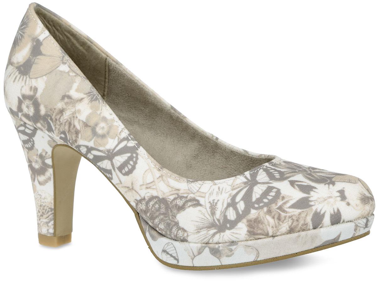 Туфли женские. 5-5-22409-26-4075-5-22409-26-407Оригинальные женские туфли от S.Oliver заинтересуют вас своим дизайном! Модель, выполненная из текстиля, оформлена изображением цветов и бабочек. Внутренняя поверхность из текстиля и стелька из искусственной кожи комфортны при движении. Высокий каблук компенсирован небольшой платформой. Каблук и подошва с рифлением обеспечивают отличное сцепление на любой поверхности. Такие туфли займут достойное место в вашем гардеробе и подчеркнут ваш безупречный вкус.