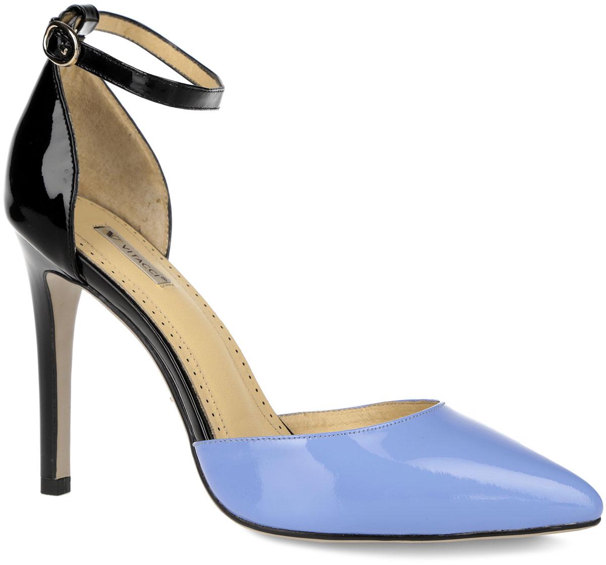 Туфли женские. 741674166Эффектные туфли от Vitacci не оставят вас незамеченной! Модель выполнена из натуральной лакированной кожи контрастных цветов. Фиксирующий ремешок с металлической пряжкой надежно закрепит модель на вашей щиколотке. Длина ремешка регулируется за счет болта. Заостренный носок смотрится невероятно женственно. Стелька из натуральной кожи с названием бренда и с перфорацией по контуру комфортна при ходьбе. Высокий каблук устойчив. Рифленая поверхность каблука и подошвы гарантирует отличное сцепление с любыми поверхностями. Стильные туфли - незаменимая вещь в гардеробе настоящей модницы! Они подчеркнут ваш стиль и индивидуальность.
