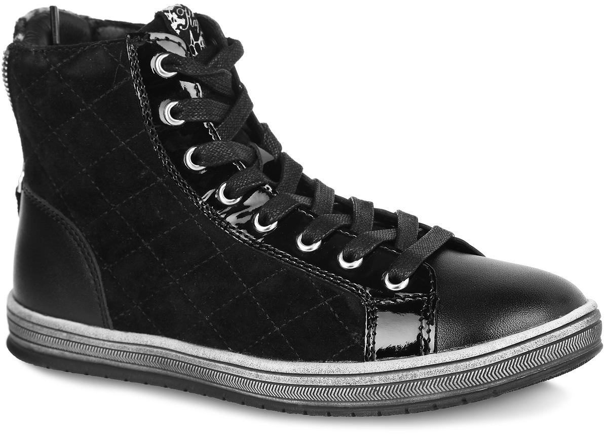 54028-1Стильные детские ботинки от Kapika заинтересуют вашу дочурку с первого взгляда. Модель выполнена из натуральной кожи разной фактуры. Подъем дополнен классической шнуровкой, с помощью которой можно регулировать объем, и металлическими люверсами. Сбоку изделие оформлено стеганой прострочкой. Мягкая верхняя часть из натуральной кожи и подкладка, изготовленная из текстиля, обеспечивают дополнительный комфорт и предотвращают натирание. Антибактериальная, влагопоглощающая, амортизирующая, анатомическая стелька из ЭВА материала с верхним покрытием из текстиля, дополненная легкой перфорацией, обеспечивает максимальную устойчивость ноги при ходьбе, правильное формирование стопы и снижение общей утомляемости ног. Задник дополнен декоративной молнией и вставкой из текстиля с принтом леопард. Язычок оформлен нашивкой с символикой бренда. Ботинки застегиваются на застежку-молнию, расположенную на одной из боковых сторон. Подошва оснащена рифлением для лучшей сцепки с поверхностью. Модные ботинки...