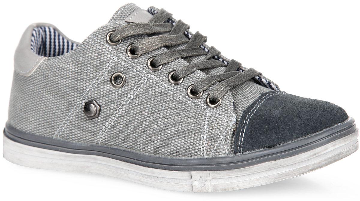Кеды для мальчика. 544059544059-11Стильные и удобные кеды от Котофей придутся по душе вашему мальчику. Модель выполнена из текстиля и дополнена вставками из искусственной кожи и натуральной замши. Шнуровка обеспечивает идеальную фиксацию обуви на стопе. Внутренняя поверхность и стелька из текстиля комфортны при носке. Стелька дополнена супинатором, который обеспечивает правильное положение ноги ребенка при ходьбе, предотвращает плоскостопие. Амортизирующая подошва позволяет ногам чувствовать себя комфортно даже во время активного отдыха. Подошва с рифлением обеспечивает идеальное сцепление с любой поверхностью. Такие кеды займут достойное место в гардеробе вашего мальчика.