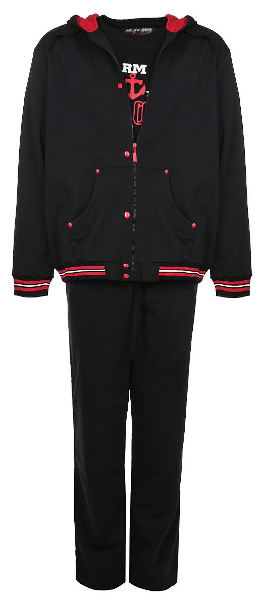 5996Комплект мужской одежды Relax Mode включает в себя толстовку, футболку и брюки. Выполненный из эластичного хлопка, комплект мягкий и приятный на ощупь, не сковывает движения и позволяет коже дышать, обеспечивая комфорт. Уютная толстовка с капюшоном и длинными рукавами спереди застегивается на пластиковую застежку-молнию по всей длине. Спереди модель дополнена двумя накладными карманами. Низ и манжеты изделия выполнены из эластичной резинки, что предотвращает деформацию при носке. Футболка с круглым вырезом горловины и короткими рукавами спереди оформлена принтовыми надписями. Брюки с широкой резинке в поясе дополнительно завязываются на текстильный шнурок. По бокам изделие дополнено двумя втачными карманами. Стильный комплект одежды станет отличным дополнением к вашему гардеробу, а также подарит вам удобство и комфорт.