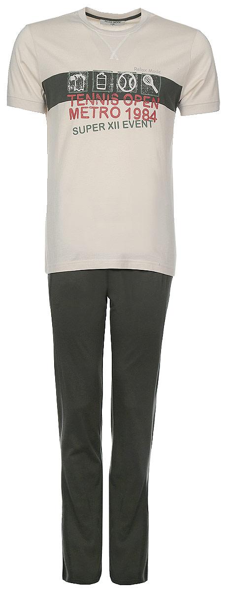 Комплект мужской: футболка, брюки. 1017910179Мужской комплект одежды для дома Relax Mode состоит из футболки и брюк. Комплект изготовлен из приятного на ощупь высококачественного хлопкового материала. Футболка и брюки превосходно сидят, не сковывают движения и позволяют коже дышать. Уютная футболка с круглым вырезом горловины и короткими рукавами оформлена крупным принтом с надписями на английском языке. Комфортные брюки на широкой эластичной резинке - удобная и практичная вещь в гардеробе. Брюки оснащены двумя втачными карманами спереди и имеют ширинку на пуговицах. Этот практичный и модный домашний комплект - настоящее воплощение комфорта. В нем вы всегда будете чувствовать себя удобно и уютно.