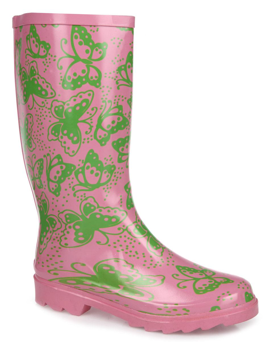 Сапоги резиновые для девочки. 211т211тУтепленные резиновые сапоги от Kapika - идеальная обувь в дождливую холодную погоду. Сапоги выполнены из резины и оформлены изображением бабочек. Подкладка, выполненная из мягкого текстиля, не даст ногам замерзнуть. Съемная стелька с текстильной поверхностью комфортна при ходьбе. Рельефная поверхность подошвы гарантирует отличное сцепление с любой поверхностью. Резиновые сапоги не только защитят ноги вашего ребенка от промокания в дождливый день, но и дополнят образ.