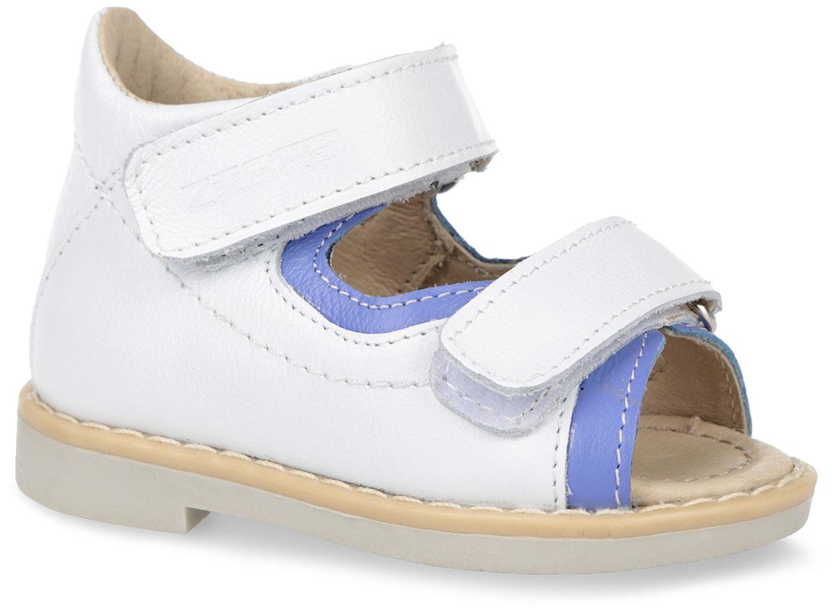 Сандалии для девочки. 10595-210595-2Оригинальные детские сандалии от Зебра займут достойное место в гардеробе вашей малышки. Модель изготовлена из натуральной кожи. Ремешки на застежке-липучке, один из которых декорирован символикой бренда, помогают оптимально подогнать полноту обуви по ноге и гарантируют надежную фиксацию. Благодаря такой застежке ребенок может самостоятельно надевать обувь. Мягкая верхняя часть и подкладка, изготовленная из натуральной кожи, обеспечивают дополнительный комфорт и предотвращают натирание. Анатомическая стелька из натуральной кожи обеспечивает максимальную устойчивость ноги при ходьбе и правильное формирование стопы. Полужесткий задник фиксирует ножку ребенка, не давая ей смещаться из стороны в сторону и назад. Широкий, устойчивый каблук специальной конфигурации каблук Томаса, продлен с внутренней стороны до середины стопы, чтобы исключить вращение (заваливание) стопы вовнутрь. Подошва оснащена рифлением для лучшей сцепки с поверхностью. Удобные и модные сандалии - основа гардероба...