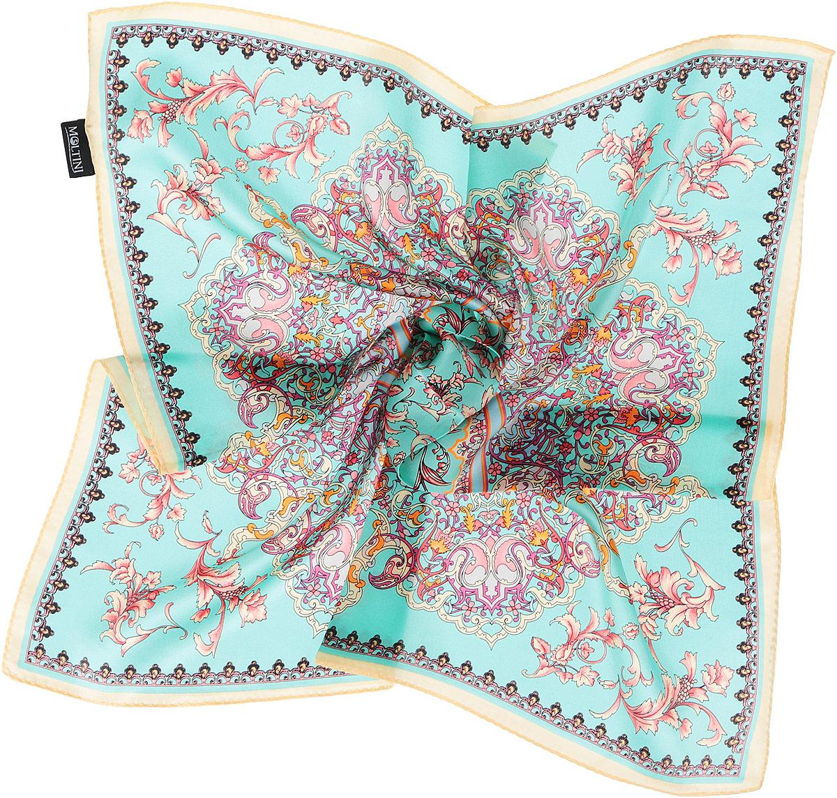 Платок216119-1HИзумительный женский платок Moltini хочется носить бесконечно, что вполне реально благодаря высокому качеству. Данный аксессуар может стать изюминкой практически любого наряда. Модель изготовлена из шелка, благодаря чему полотно тонкое и легкое. Платок оформлен потрясающими узором и цветовой гаммой. Платок Moltini станет вашим верным спутником, а окружающие обязательно будут обращать свое восторженное внимание на вас.