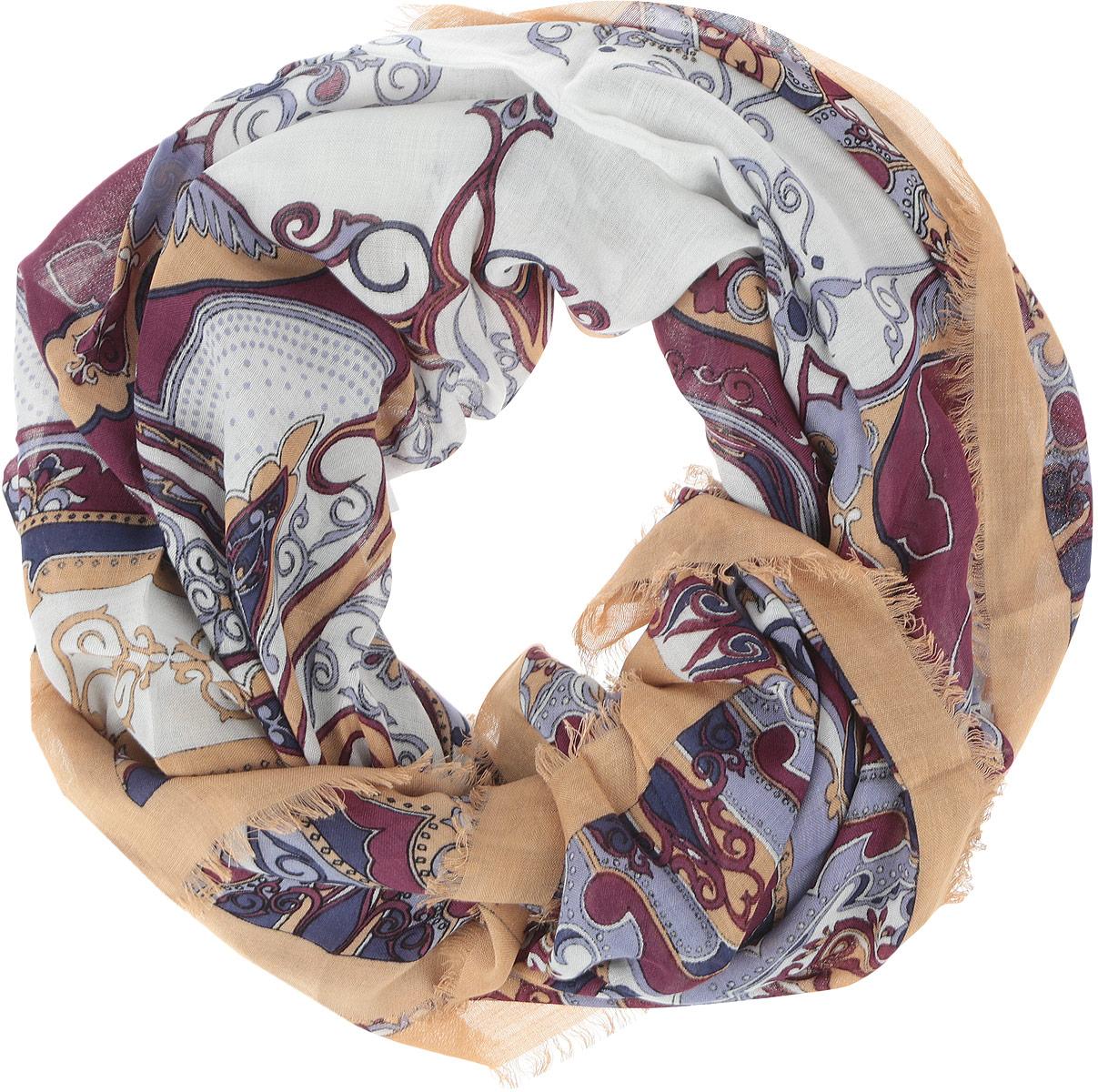 DS2015-004-11Стильный женский платок Fabretti станет великолепным завершением любого наряда. Платок изготовлен из высококачественного модала с добавлением вискозы, оформлен сложным растительным орнаментом и украшен тонкой бахромой по краям. Классическая квадратная форма позволяет носить платок на шее, украшать им прическу или декорировать сумочку. Мягкий и шелковистый платок поможет вам создать изысканный женственный образ, а также согреет в непогоду. Такой платок превосходно дополнит любой наряд и подчеркнет ваш неповторимый вкус и элегантность.