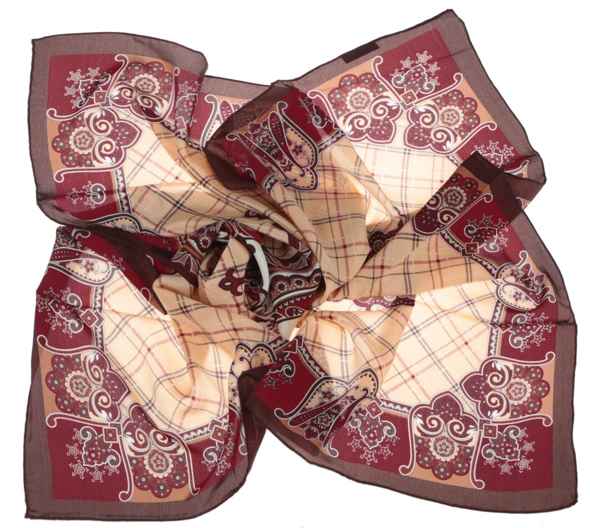 Платок женский. CX1516-50CX1516-50-10Стильный женский платок Leo Ventoni станет великолепным завершением любого наряда. Платок изготовлен из высококачественного шелка и оформлен принтом в клетку, дополненным оригинальным орнаментом. Классическая квадратная форма позволяет носить платок на шее, украшать им прическу или декорировать сумочку. Мягкий и шелковистый платок поможет вам создать изысканный женственный образ, а также согреет в непогоду. Такой платок превосходно дополнит любой наряд и подчеркнет ваш неповторимый вкус и элегантность.