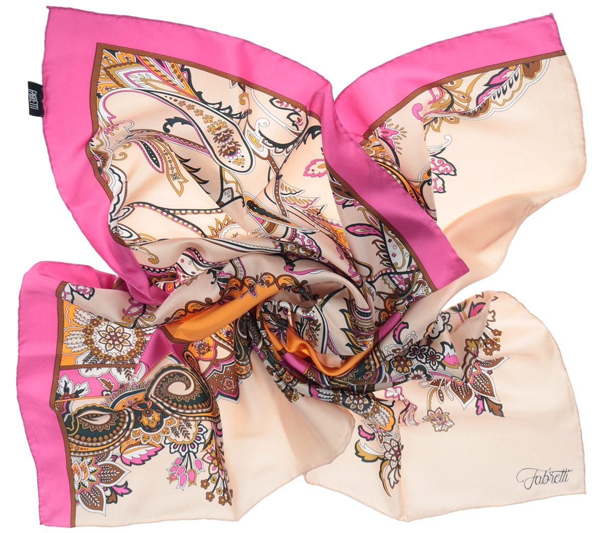 Платок женский. CX1516-43CX1516-43-4Стильный женский платок Fabretti станет великолепным завершением любого наряда. Платок изготовлен из высококачественного 100% шелка и оформлен изысканным растительным орнаментом. Классическая квадратная форма позволяет носить платок на шее, украшать им прическу или декорировать сумочку. Мягкий и шелковистый платок поможет вам создать изысканный женственный образ, а также согреет в непогоду. Такой платок превосходно дополнит любой наряд и подчеркнет ваш неповторимый вкус и элегантность.