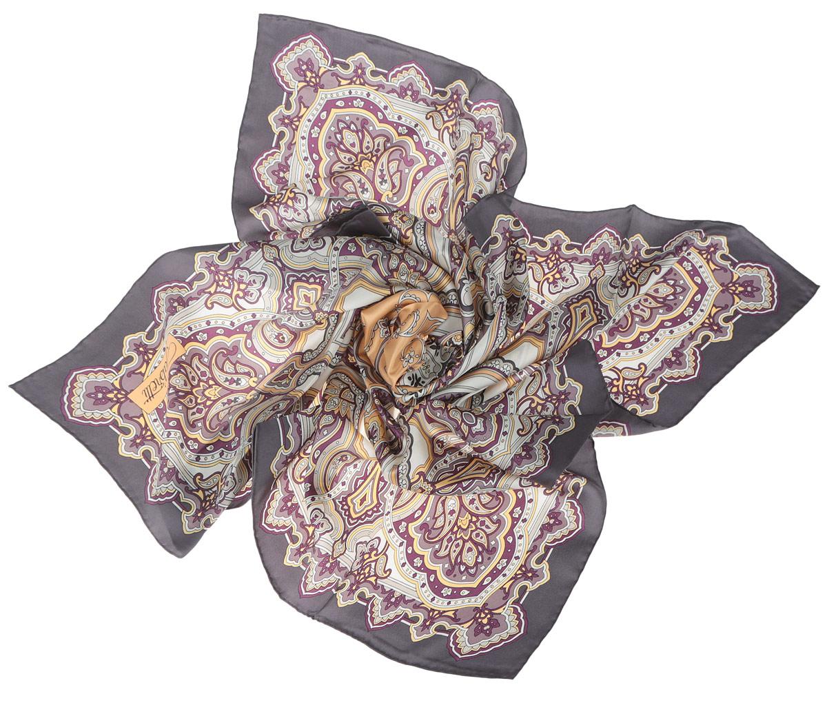 ПлатокCX1516-46-3Стильный женский платок Fabretti станет великолепным завершением любого наряда. Платок изготовлен из высококачественного 100% шелка и оформлен оригинальным принтом с цветочным орнаментом в восточном стиле. Классическая квадратная форма позволяет носить платок на шее, украшать им прическу или декорировать сумочку. Мягкий и шелковистый платок поможет вам создать изысканный женственный образ, а также согреет в непогоду. Такой платок превосходно дополнит любой наряд и подчеркнет ваш неповторимый вкус и элегантность.