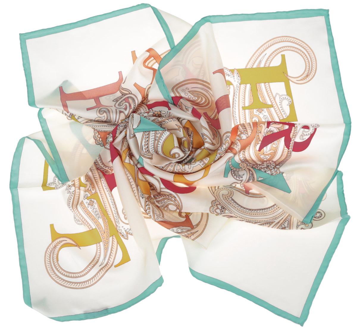 ПлатокCX1516-44-8Стильный женский платок Fabretti станет великолепным завершением любого наряда. Платок изготовлен из высококачественного 100% шелка и оформлен красочным принтом с буквами на фоне цветочного орнамента. Классическая квадратная форма позволяет носить платок на шее, украшать им прическу или декорировать сумочку. Мягкий и шелковистый платок поможет вам создать изысканный женственный образ, а также согреет в непогоду. Такой платок превосходно дополнит любой наряд и подчеркнет ваш неповторимый вкус и элегантность.