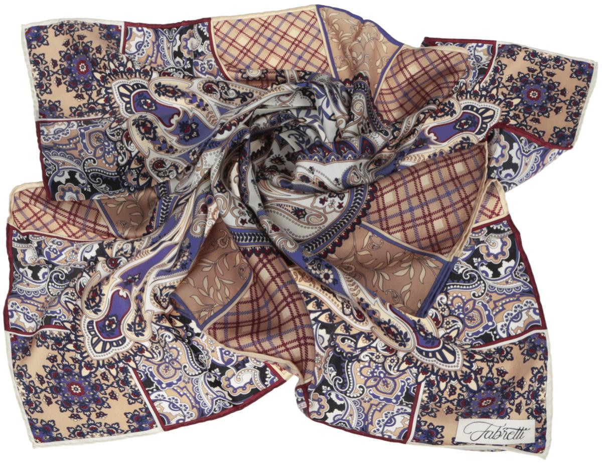 Платок женский. CX1516-53CX1516-53-2Стильный женский платок Fabretti станет великолепным завершением любого наряда. Платок изготовлен из высококачественного 100% шелка и оформлен оригинальным принтом с красочным цветочным этническим орнаментом. Классическая квадратная форма позволяет носить платок на шее, украшать им прическу или декорировать сумочку. Мягкий и шелковистый платок поможет вам создать изысканный женственный образ, а также согреет в непогоду. Такой платок превосходно дополнит любой наряд и подчеркнет ваш неповторимый вкус и элегантность.