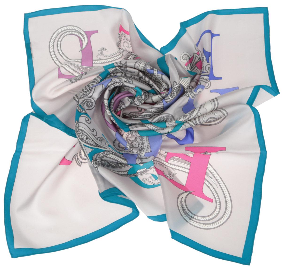 Платок женский. CX1516-44CX1516-44-8Стильный женский платок Fabretti станет великолепным завершением любого наряда. Платок изготовлен из высококачественного 100% шелка и оформлен красочным принтом с буквами на фоне цветочного орнамента. Классическая квадратная форма позволяет носить платок на шее, украшать им прическу или декорировать сумочку. Мягкий и шелковистый платок поможет вам создать изысканный женственный образ, а также согреет в непогоду. Такой платок превосходно дополнит любой наряд и подчеркнет ваш неповторимый вкус и элегантность.