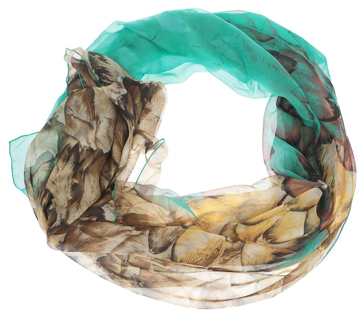 RL0055-2Женский шарф Fabretti, выполненный из полиэстера с добавлением шелка, станет ярким дополнением к вашему гардеробу. Изделие легкое и воздушное, имеет приятную текстуру. Модель оформлена принтом с изображением перьев. Этот модный аксессуар гармонично дополнит образ современной женщины, следящей за своим имиджем и стремящейся всегда оставаться стильной и элегантной.