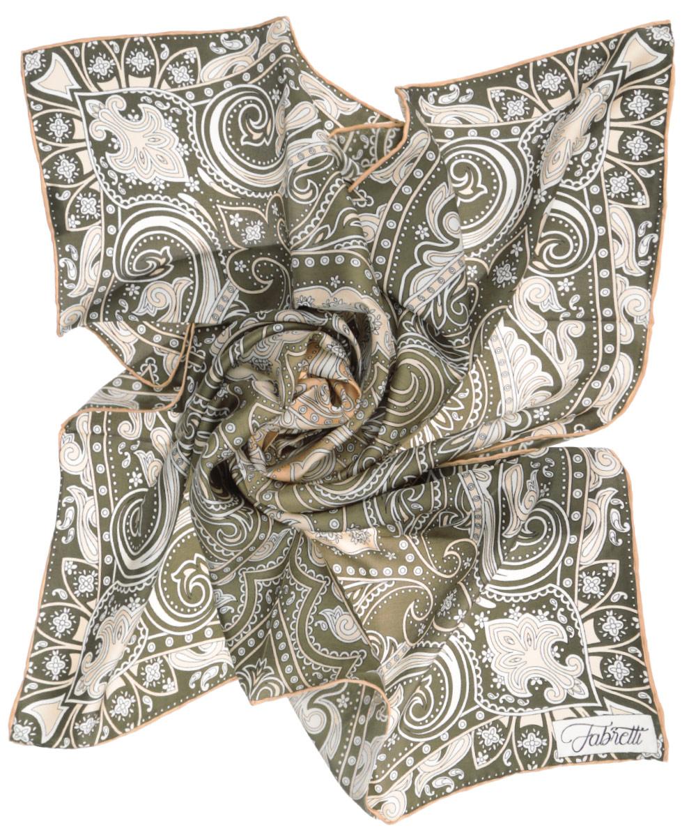 ПлатокCX1516-48-4Стильный женский платок Fabretti станет великолепным завершением любого наряда. Платок изготовлен из высококачественного шелка и оформлен оригинальным принтом с изображением цветочного орнамента в восточном стиле. Классическая квадратная форма позволяет носить платок на шее, украшать им прическу или декорировать сумочку. Мягкий и шелковистый платок поможет вам создать изысканный женственный образ, а также согреет в непогоду. Такой платок превосходно дополнит любой наряд и подчеркнет ваш неповторимый вкус и элегантность.
