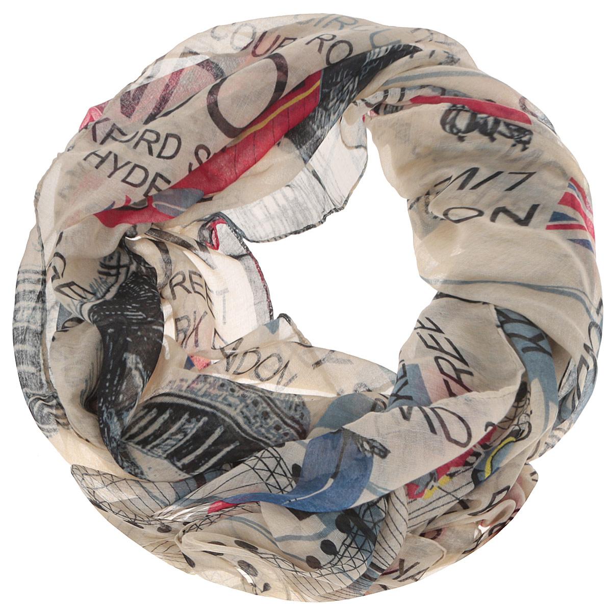 Шарф женский. TUT321TUT321Модный женский шарф Fabretti подарит вам уют и станет стильным аксессуаром, который призван подчеркнуть вашу индивидуальность и женственность. Тонкий шарф выполнен из высококачественной 100% вискозы, он невероятно мягкий и приятный на ощупь. Шарф оформлен принтом с надписями на английском языке и различными достопримечательностями Лондона. Этот модный аксессуар гармонично дополнит образ современной женщины, следящей за своим имиджем и стремящейся всегда оставаться стильной и элегантной. Такой шарф украсит любой наряд и согреет вас в непогоду, с ним вы всегда будете выглядеть изысканно и оригинально.
