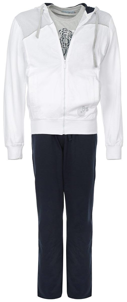 Комплект мужской Sport: толстовка, футболка, брюки. 51345134Комплект мужской одежды Relax Mode Sport включает в себя толстовку, футболку и брюки. Толстовка выполнена из натурального хлопка, футболка и брюки изготовлены из хлопка в сочетании с вискозой. Лицевая сторона толстовки и брюк гладкая, изнаночная с небольшими петельками. Комплект мягкий и приятный на ощупь, не сковывает движения и позволяет коже дышать, обеспечивая комфорт. Толстовка с капюшоном и длинными рукавами застегивается на молнию по всей длине. Капюшон дополнен по краю скрытым шнурком. На рукавах предусмотрены широкие эластичные манжеты. Спереди расположены два втачных кармана. По низу изделия проходит широкая трикотажная резинка. Модель оформлена сверху вставкой из мягкой сетки, украшена небольшим принтом. Круглый вырез горловины на футболке оформлен трикотажной резинкой. Изделие украшено принтом. Эластичный пояс с утягивающим шнурком на брюках позволяет отрегулировать посадку точно по фигуре. Спереди расположены два втачных кармана. ...