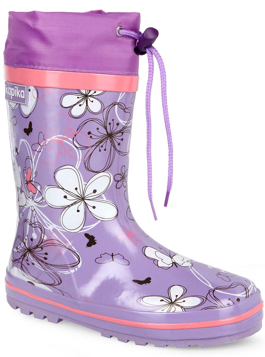 Сапоги резиновые для девочки. 623т623тУтепленные резиновые сапоги от Kapika - идеальная обувь в дождливую погоду. Сапоги выполнены из резины и оформлены цветочным принтом. Подкладка и съемная стелька из мягкого текстиля не дадут ногам замерзнуть. Текстильный верх голенища регулируется в объеме за счет шнурка со стоппером. Рельефная поверхность подошвы гарантирует отличное сцепление с любой поверхностью. Резиновые сапоги прекрасно защитят ноги вашего ребенка от промокания в дождливый день.
