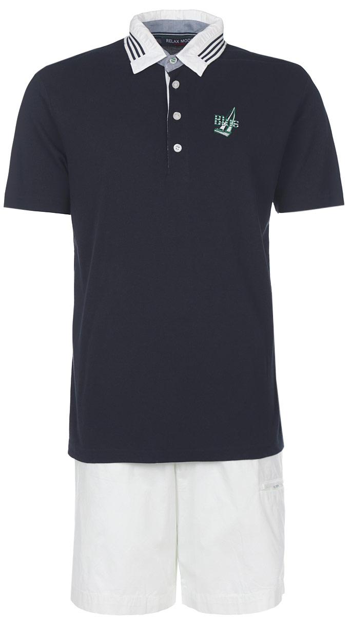 Комплект мужской Holiday: футболка-поло, шорты. 3513835138Мужской комплект Relax Mode, состоящий из футболки-поло и шорт, подарит вам неповторимую индивидуальность. Комплект, выполненный из высококачественных материалов, оформлен в контрастном цвете. Поло с короткими рукавами и отложным воротником на груди застегивается на четыре пуговицы. Модель украшена небольшой вышивкой. Классический покрой, лаконичный дизайн. Отличные мужские шорты прямого кроя и стандартной посадки с ширинкой на пуговицах, на талии также застегиваются на пуговицу, имеются шлевки для ремня. Сзади пояс оформлен эластичной резинкой. Спереди модель дополнена двумя втачными карманами с косыми срезами и небольшим врезным кармашком. Такой комплект создан для тех, кто предпочитает комфорт, практичность и современный дизайн.