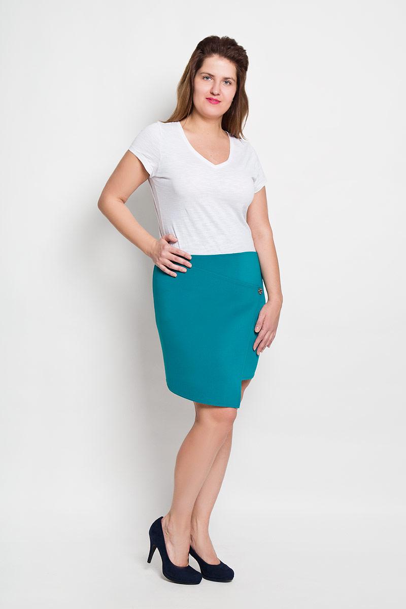 Юбка. 10081008Эффектная юбка Milana Style выполнена из высококачественного плотного материала на основе полиэстера, она обеспечит вам комфорт и удобство при носке. Юбка оригинального ассиметричного фасона украшена двумя декоративными пуговицами. Модная юбка-миди выгодно освежит и разнообразит ваш гардероб. Создайте женственный образ и подчеркните свою яркую индивидуальность! Классический фасон и оригинальное оформление этой юбки сделают ваш образ непревзойденным.