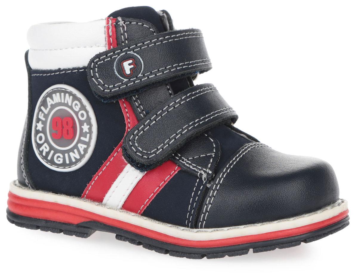 Ботинки для мальчика. 61-XP11561-XP115Трендовые детские ботинки от Flamingo - займут достойное место в гардеробе вашего мальчика. Модель выполнена из комбинации натуральной и искусственной кожи, нубука и оформлена светлой прострочкой. Мягкая верхняя часть и подкладка, изготовленная из натуральной кожи, обеспечивают дополнительный комфорт и предотвращают натирание. Анатомическая стелька из натуральной кожи, дополненная легкой перфорацией, обеспечивает максимальную устойчивость ноги при ходьбе и правильное формирование стопы. Ремешки на застежке-липучке, один из которых оформлен символикой бренда, помогают оптимально подогнать полноту обуви по ноге. Также сбоку есть застежка-молния. Полужесткий задник фиксирует ножку ребенка, не давая ей смещаться из стороны в сторону и назад. Нашивка на мыске предназначена для дополнительной защиты. Сбоку изделие декорировано оригинальной нашивкой из ПВХ. Благодаря такой застежке ребенок может самостоятельно надевать ботинки. Подошва оснащена рифлением для лучшей сцепки с поверхностью....