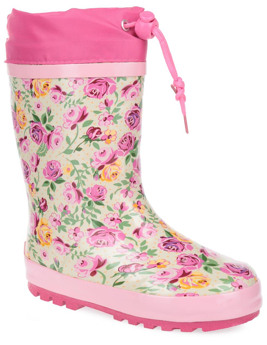 Сапоги резиновые для девочки. W5540W5540Утепленные резиновые сапожки Flamingo для девочек - идеальная обувь в дождливую погоду. Сапоги выполнены из качественной резины и оформлены красочными цветочными изображениями. Верх голенища дополнен вставкой из текстиля и шнурком с фиксатором, который надежно зафиксирует модель на ноге и отрегулирует объем. Подкладка, изготовленная из шерсти, и стелька из ЭВА материала с верхним покрытием из шерсти защитят ножки ребенка от холода и обеспечат уют. Задник декорирован символикой бренда. Подошва из резины оснащена рифлением для лучшей сцепки с поверхностью. Яркие резиновые сапоги поднимут вам и вашему ребенку настроение в дождливую погоду!