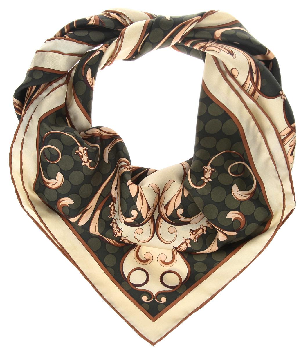 Платок женский. CX1516-49CX1516-49-4Стильный женский платок Fabretti станет великолепным завершением любого наряда. Платок изготовлен из высококачественного 100% шелка и оформлен изысканным растительным орнаментом. Классическая квадратная форма позволяет носить платок на шее, украшать им прическу или декорировать сумочку. Мягкий и шелковистый платок поможет вам создать изысканный женственный образ, а также согреет в непогоду. Такой платок превосходно дополнит любой наряд и подчеркнет ваш неповторимый вкус и элегантность.