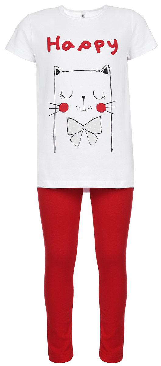 Комплект для девочки: футболка, леггинсы. 164102164102Яркий комплект одежды для девочки Scool, состоящий из футболки и леггинсов, станет отличным дополнением к детскому гардеробу. Изготовленный из эластичного хлопка, он мягкий и приятный на ощупь, не сковывает движения и позволяет коже дышать, обеспечивая наибольший комфорт. Футболка с круглым вырезом горловины и короткими рукавами оформлена принтом с изображением забавного котика, а также надписью. Леггинсы на поясе имеют мягкую эластичную резинку, благодаря чему они не сдавливают животик ребенка и не сползают. В таком комплекте юная модница будет чувствовать себя комфортно, уютно, а также всегда будет в центре внимания!