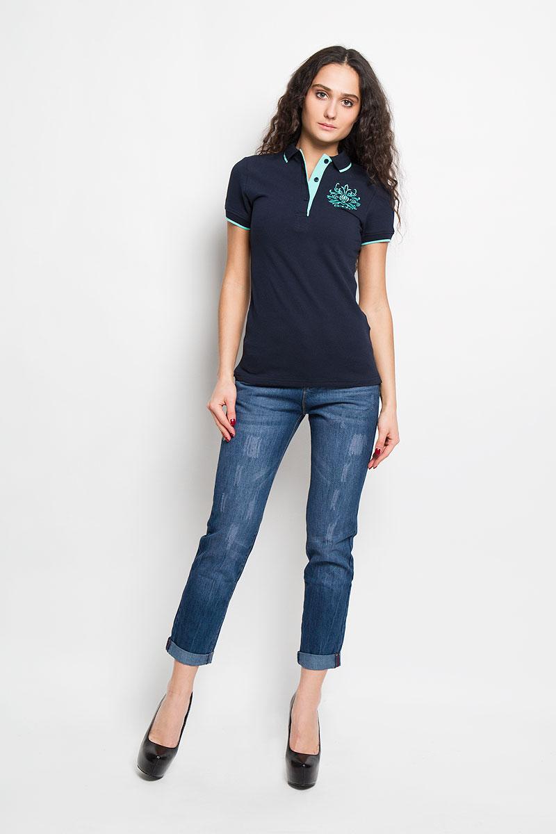 Футболка-поло женская. B206201B206201Стильная женская футболка-поло Baon, изготовленная из высококачественного эластичного хлопка, обладает высокой теплопроводностью, воздухопроницаемостью и гигроскопичностью, позволяет коже дышать. Модель с короткими рукавами и отложным воротником - идеальный вариант для создания оригинального современного образа. Сверху футболка-поло застегивается на 3 пуговицы. Футболка-поло оформлена вышивкой с логотипом Baon. Такая модель подарит вам комфорт в течение всего дня и послужит замечательным дополнением к вашему гардеробу.