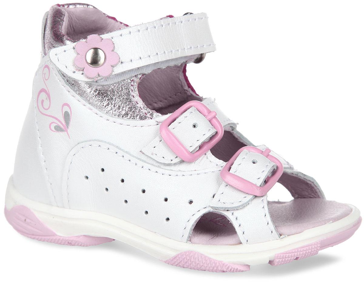 Сандалии для девочки. 022061022061-21Чудесные сандалии от Котофей не оставят равнодушной вашу малышку! Модель изготовлена из натуральной кожи и оформлена перфорацией по бокам. Ремешок с застежкой-липучкой на щиколотке, оформленный декоративным цветком, и два ремешка с металлическими пряжками на подъеме прочно закрепят обувь на ножке и отрегулируют нужный объем. Внутренняя поверхность и стелька, выполненные из натуральной кожи, комфортны при ходьбе. Стелька дополнена супинатором, который обеспечивает правильное положение ноги ребенка при ходьбе, предотвращает плоскостопие. Подошва с рифлением гарантирует идеальное сцепление с любыми поверхностями. Такие сандалии займут достойное место в гардеробе вашей девочки.