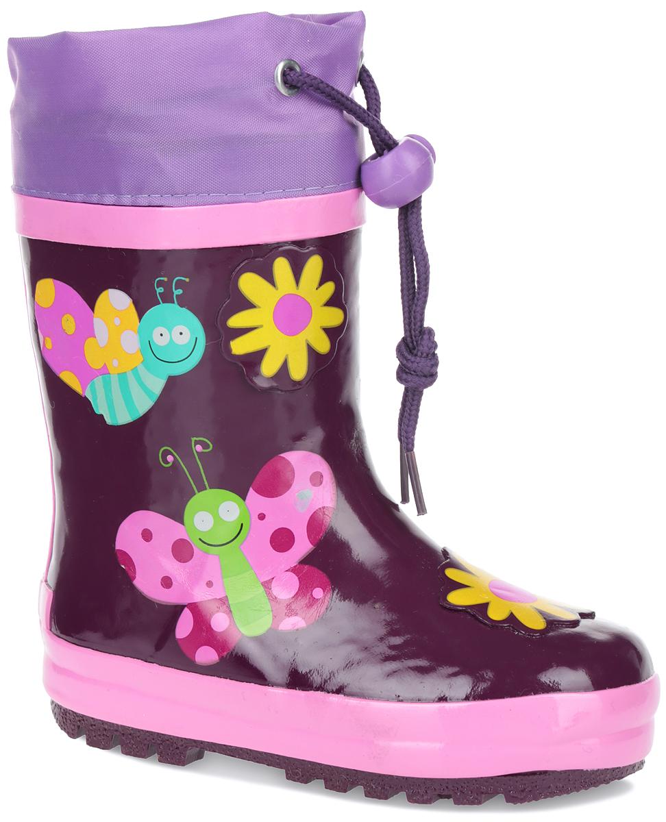Сапоги резиновые для девочки. W5526W5526Утепленные резиновые сапожки Flamingo для девочек - идеальная обувь в дождливую погоду. Модель изготовлена из резины и оформлена красочными изображениями. Верх голенища дополнен вставкой из текстиля и шнурком с фиксатором, который надежно зафиксирует модель на ноге и отрегулирует объем. Подкладка, изготовленная из шерсти, и стелька из ЭВА материала с верхним покрытием из шерсти защитят ножки ребенка от холода и обеспечат уют. Задник декорирован логотипом бренда. Подошва из резины оснащена рифлением для лучшей сцепки с поверхностью. Яркие резиновые сапоги поднимут вам и вашему ребенку настроение в дождливую погоду!